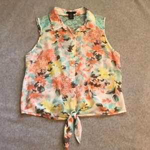 Timing floral print chiffon lace tie tank Medium